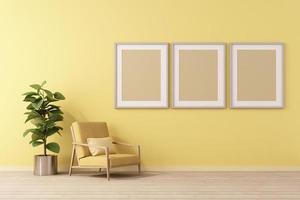 Rendu 3D d'une maquette de design d'intérieur pour salon avec cadre photo sur mur jaune