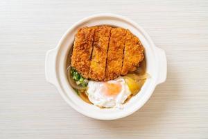 escalope de porc frite japonaise avec soupe à l'oignon et oeuf photo