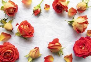 composition de fleurs. cadre fait de roses rouges et de feuilles sur fond de papier blanc photo