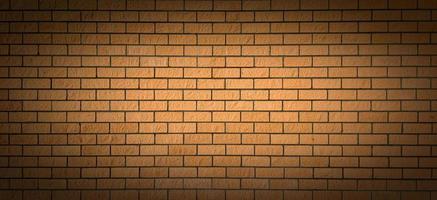 un mur de briques avec une tache lumineuse au centre et une ombre sur les bords. arrière-plan parfait pour souligner les idées importantes. photo