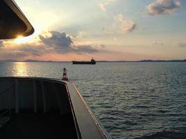 beau coucher de soleil sur la mer jaune. Corée du Sud photo