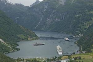 paysage au fjord de geiranger en norvège photo