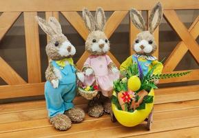 trois mignons lapins de pâques debout sur un banc. photo