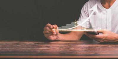 planification et stratégie croissance de l'entreprise stock d'hologramme virtuel investir dans le commerce illustration 3d photo