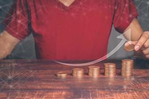 concept de gens d'affaires investissant dans les actions et la croissance des revenus illustration 3d photo