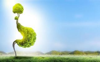 l'estomac de l'arbre est une illustration 3d du concept environnemental médical. photo