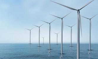 éolienne ou l'énergie éolienne traduite en électricité, la protection de l'environnement rend le monde pas chaud. photo