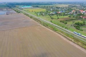 champ de riz avec paysage vert nature fond photo