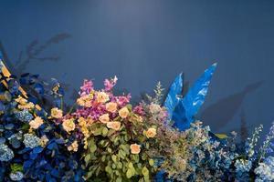 fond de toile de fond de mariage, décoration florale photo