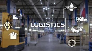 concept de transport logistique sur fond flou de supermarché photo