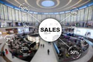 concept de remise de vente. vente d'inscription sur fond de magasin flou. photo