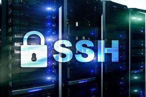 ssh, protocole et logiciel de shell sécurisé. concept de protection des données, internet et télécommunications. photo