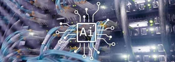 ai, intelligence artificielle, automatisation et concept de technologie de l'information moderne sur écran virtuel. photo
