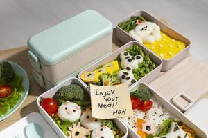 vue de dessus composition nourriture bento japonais photo