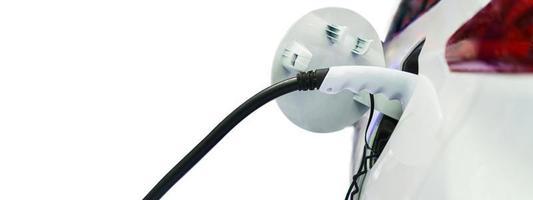 recharge de voiture électrique sur borne de recharge, transports qui sont l'avenir de l'automobile photo