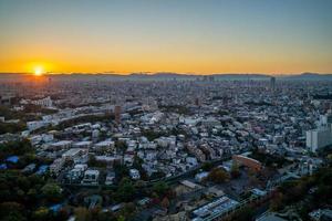 paysage urbain de la ville de nagoya au japon au crépuscule photo
