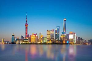 Horizon de Shanghai par la rivière Huangpu, Chine photo
