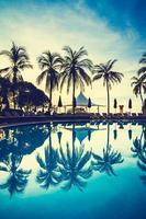 silhouette cocotier autour de la piscine photo