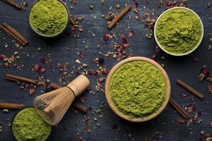 vue de dessus thé vert asiatique traditionnel. beau concept de photo de haute qualité