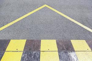 panneau d'interdiction sur l'asphalte photo
