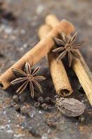 bâtons de cannelle, étoiles d'anis, cardamome et grains de poivre noir sur fond texturé photo