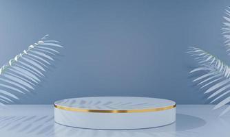podium présentation du produit fond d'écran formes géométriques maquette plate-forme de rendu 3d piédestal 3d sur fond bleu pastel avec ombre de feuille de palmier photo