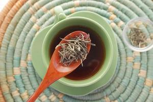 vue de dessus du thé vert et des feuilles d'herbes dans un petit bol en verre sur la table photo