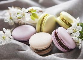 Variété colorée de macarons sucrés français sur fond textile gris photo