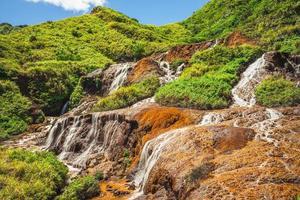 paysage de cascade dorée dans la nouvelle ville de taipei, taiwan photo