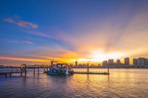 coucher de soleil à la jetée de dadaocheng à taipei, taiwan photo