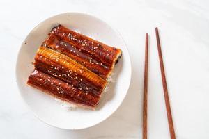 anguille japonaise grillée avec bol de riz ou unagi don photo