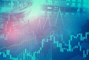 investissement boursier trading financier, pièce de monnaie et graphique graphique ou forex pour analyser l'arrière-plan des données de tendance des entreprises de financement des bénéfices photo