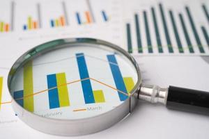 loupe sur papier graphique graphiques. développement financier, compte bancaire, statistiques, économie de données de recherche analytique d'investissement, négociation en bourse, concept de réunion d'entreprise de bureau d'affaires. photo
