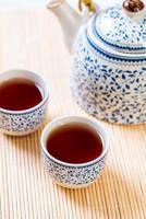 gros plan beau service à thé chinois photo