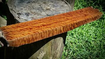 le bois de padouk de birmanie a un grain de tigre ou de rayure bouclée photo