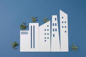 le concept de durabilité avec des formes géométriques vierges qui poussent des plantes photo