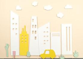 concept de transport avec voiture et bâtiments photo