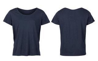 T shirt femme marine isolé sur fond blanc avec un tracé de détourage photo
