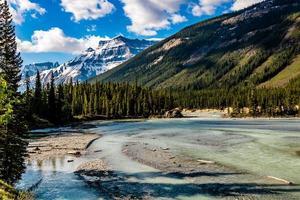 la rivière Bow erre à travers la promenade des glaciers de l'arrière-pays. parc national banff, alberta, canada photo