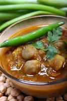 chana masala épicé indien avec pois chiches crus et garniture au piment vert photo