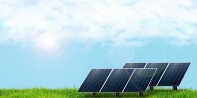 les panneaux solaires lèvent les yeux vers le ciel pour recevoir la lumière du soleil illustration 3d photo