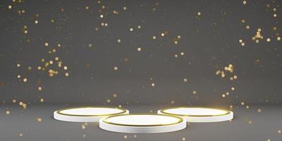 piédestal pour modèles de maquette avec espace de copie or et noir laqué foncé exposition de produits de piédestal illustration 3d photo