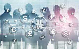 FMI, organisation bancaire mondiale du fonds monétaire international. concept d'entreprise sur fond flou photo