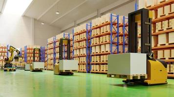 chariots élévateurs agv-transportez plus avec sécurité dans l'entrepôt photo