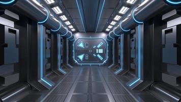 science fond fiction intérieur salle science-fiction vaisseau spatial couloirs bleu photo