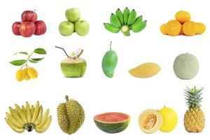 Groupe de collection de fruits frais sur fond blanc photo