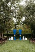 cérémonie de mariage dans les bois parmi les arbres sur la piste verte photo