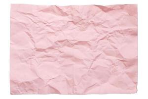 Couleur rose vierge 4a papier froissé isolé sur fond blanc avec ombre photo