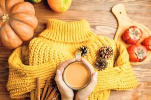 chocolat chaud dans les mains, pommes de pin et bâtons de cannelle sur pull tricoté. photo