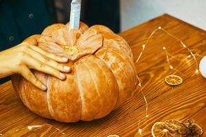 préparation de citrouille d'halloween photo